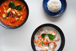 Thai soups on the white table