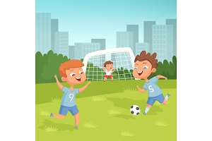 Active children playing football