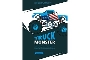 Monster truck poster. Design