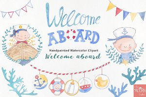Welcome aboard watercolor graphics