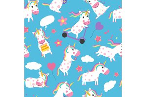 Unicorns seamless pattern. Various