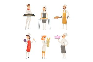 Various cartoon characters bakers at