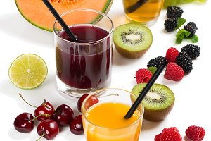 Fruits, berries and juices. Summer c