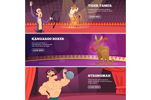 Banners of circus show. Vector