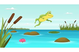 Frog jumping in pond. Vector cartoon
