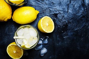 Summer refreshing lemonade with ice