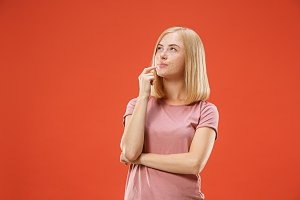 Young serious thoughtful blonde with