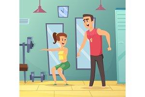 Gym background. Cartoon sport