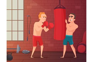 Boxer training. Male hits to