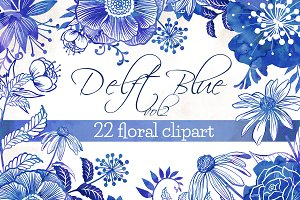 Blue Flowers clipart, wedding