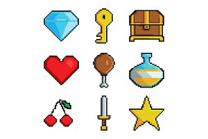 Pixel graphic game objects. 8 bit