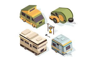 Isometric camping cars. Vector