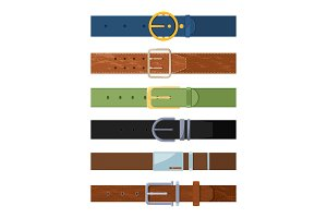 Clothing belt. Vector set of various