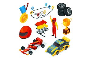 Sport racing symbols. Isometric
