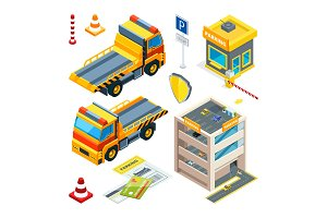 Parking and evacuation cars. Vector