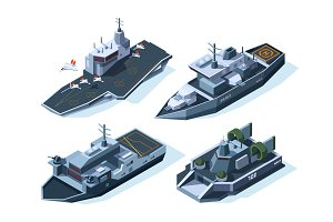 Military boats isometric. Vector