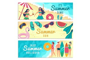 Banners set with various summer
