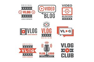 Set of logotypes for video bloggers