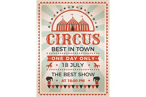 Retro poster invitation for circus