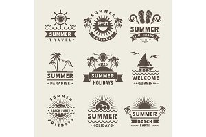 Summer badges. Vector monochrome