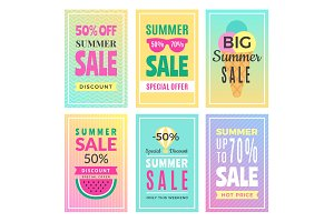 Summer sale cards. Design template