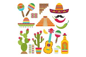 Mexican elements. Set of traditional