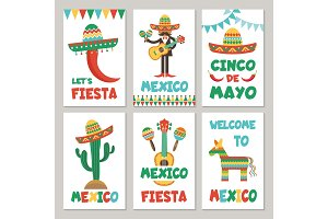 Cards with mexican symbols