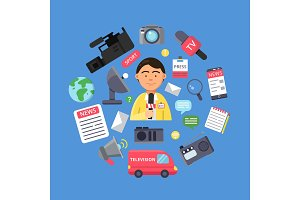 Media concept with picture of