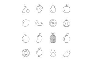 Various icons of fruits. Vegan