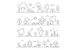 Landscapes with plants. Vector mono