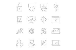 Symbols of privacy. Vector Icon set