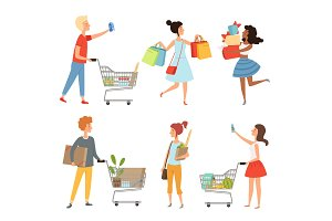 Male and female shopping. Vector