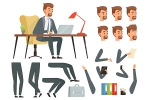 Businessman workspace. Vector mascot