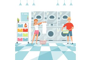 Laundry background. Woman washing