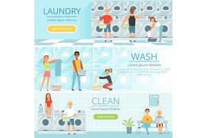 Laundry service. Banners design with