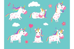 Cartoon unicorns. Cute fairy tale