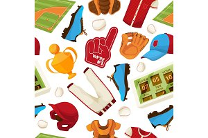 Baseball vector seamless pattern