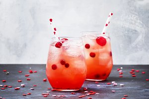 Festive Valentines day red cocktail,