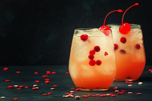 Festive alcoholic cocktail with red