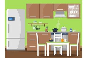 Vector flat illustration of kitchen