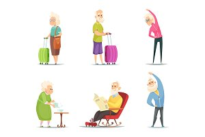 Elderly couples in various action