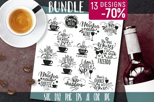 Bundle Funny Quotes Wine Coffee SVG