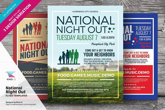National Night Out Flyer Templates Flyer Templates Creative Market
