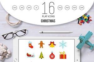 Christmas icons set, flat style