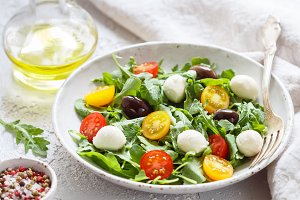 Fresh summer salad with arugula