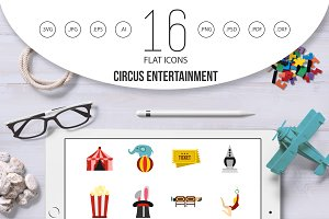 Circus entertainment icons set, flat