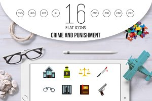 Crime and punishment icons set, flat