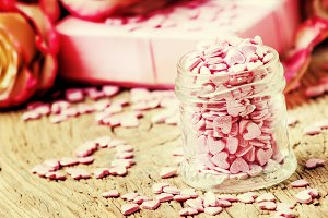 Pink sugar hearts, Valentines card o