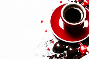 Red cup of espresso coffee on Valent