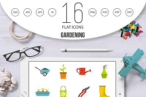 Gardening icons set, flat style